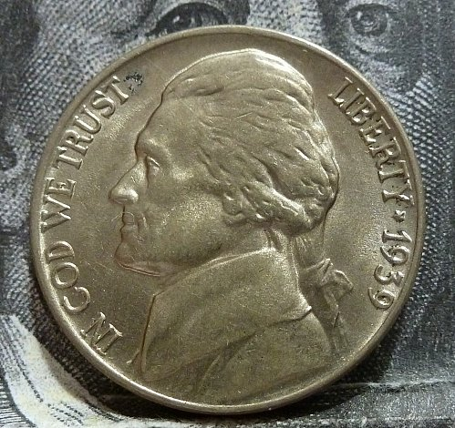 1939 P BU Jefferson Nickel ( Lite scratch on reverse ) # 19267
