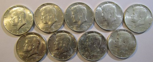 9  Silver Kenneday Half DollarsPAY PAL, Checks OR USPS Money Orders O K- 4 std.o