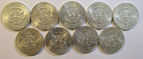 9  Silver Kenneday Half DollarsPAY PAL, Checks OR USPS Money Orders O K- 4 std.o