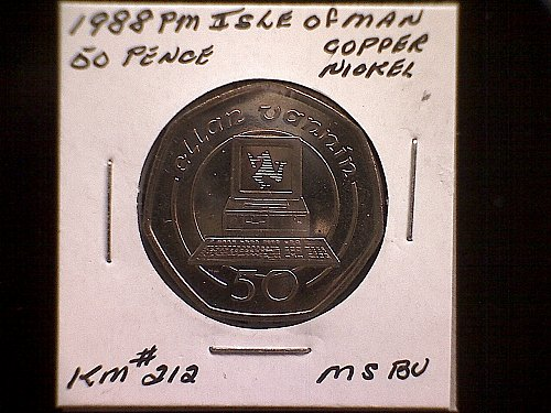 1988 PM  ISLE OF MAN  FIFTY PENCE