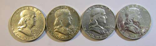 4 Silver Franklin Half Dollars 1962, (proof), 62-D, 63, & 63-DFINAL reduction 20
