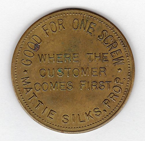 Vintage Brothel Token - Mattie Silks - House of Mirrors - Denver - CO.
