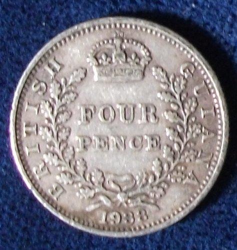 1938 British Guiana 4 Pence VF