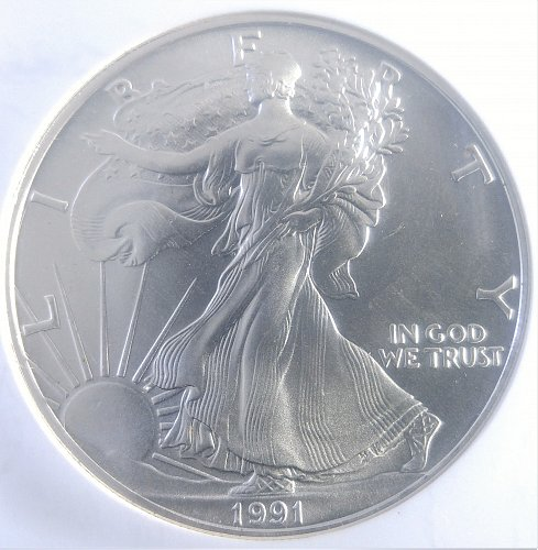 1991-P AMERICAN SILVER EAGLE DOLLAR - BUILLION