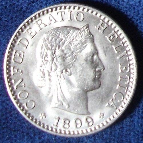 1899 Switzerland 20 Rappen AU