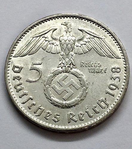 1938 A  5 Marks - Germany - Hindenburg