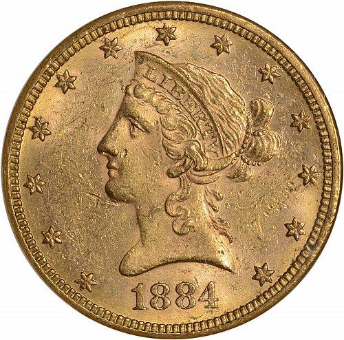 $10.00 1884 Gold $10 Ten Dollar Eagle - NGC MS61