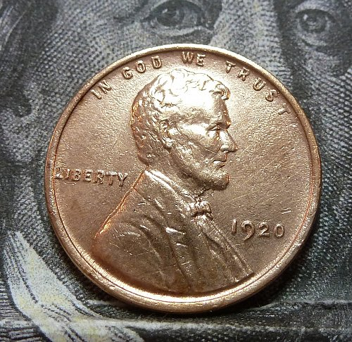 1920 P BU Lincoln Wheat Cent RED ( 19262 )