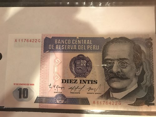 Peru currency- 10 note-1986 series