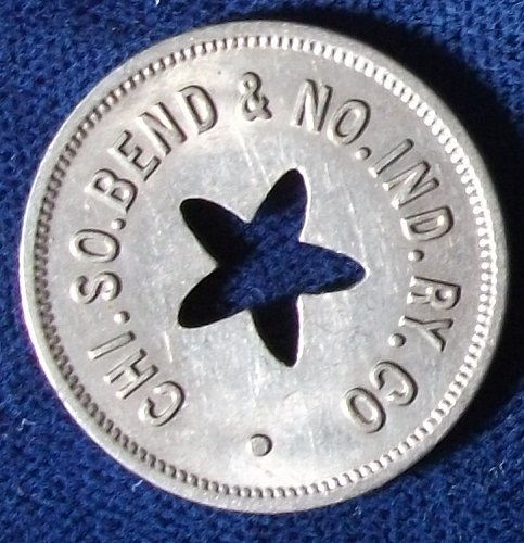 Chi. So. Bend & No. Ind. RY. Co. Fare Token, Indiana and Illinois