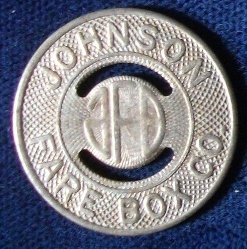 Johnson Fare Box Co. 1/2 Fare Token, Attributed To Tacoma, Washington