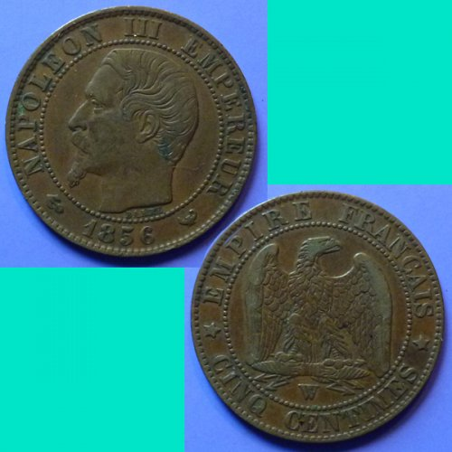 France French Francaise 5 Centimes 1856 W Napoleon III km 777.7