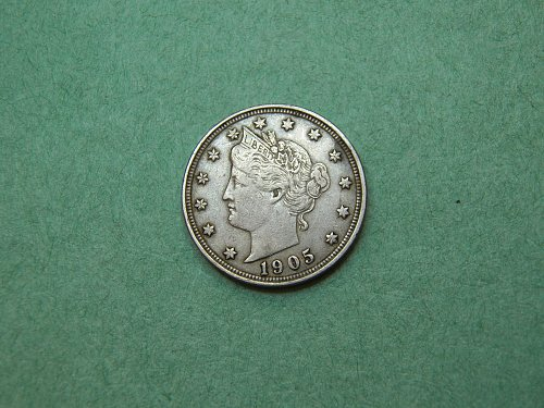 1905 Liberty V Nickel Very Fine Coin   p38