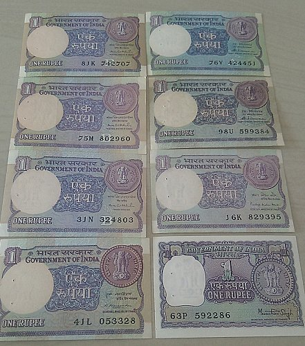 India 1 Rupee  Eight Notes..Fine lot