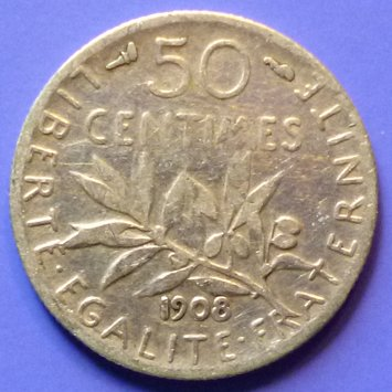 France French Francaise 50 Centimes 1908 km 854 Silver