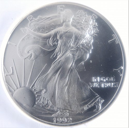 1992-P SILVER EAGLE IN SLAB, BUILLION