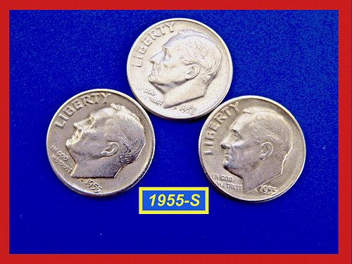 """1955-S Roosevelt Dime  ☆ """"Circulated""""  ☆  (#3566)b"""