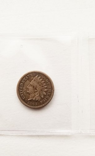 VERY RARE 1863 Indian Head Penny Civil War Era