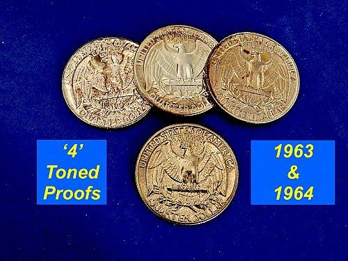 Four PROOF Quarters ☆  Cameo Toned ☆ (#2156)a