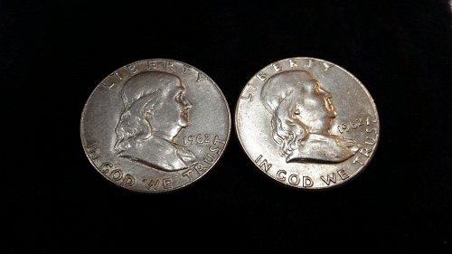 1962 P Franklin Half Dollars 90%SILVER