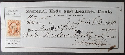 1867 National Hide and Leather Bank Check, Boston, Massachusetts