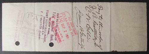 1899 Newton Center Trust Company Check, Massachusetts