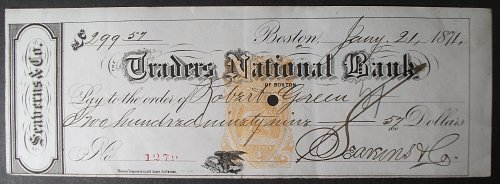 1871 Traders National Bank Check, Seaverns & Co., Boston, Massachusetts