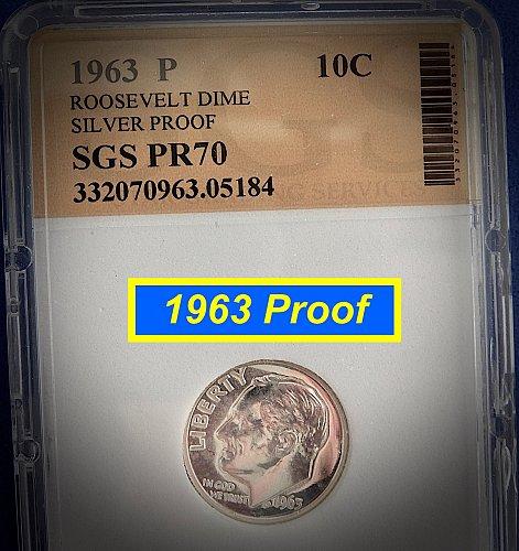 "1963 PROOF  ☆ SGS Graded @  ""PR70"" ☆  (#3989)b"