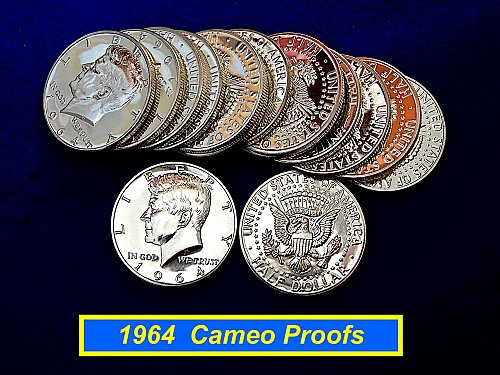 1964 PROOF  Kennedy Half  ☆  90% Silver ☆ (r#8022)b