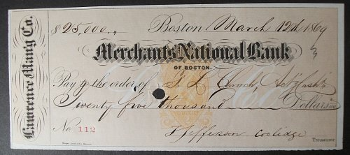 1869 Merchants National Bank, Lawrence Manufacturing Co. Check for $25,000, Bost
