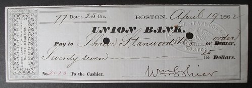 1862 Union Bank Check, Boston, Massachusetts to Shreve, Stanwood & Co.