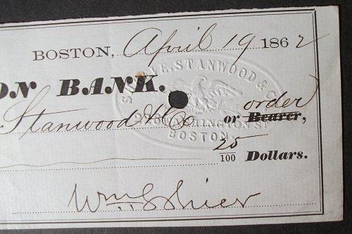 1862 Union Bank Check, Boston, Massachusetts to Shreve, Stanwood & Co.