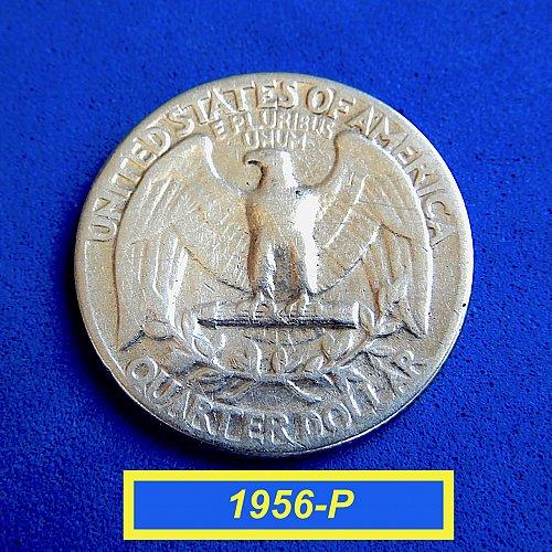 "1956-P  WASHINGTON QUATER ☆ ""Circulated"" ☆  (#2166)a"