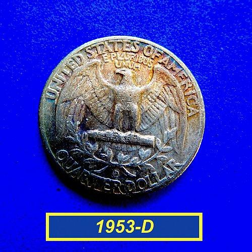 """1953-D  WASHINGTON QUATER ☆ """"Circulated"""" ☆  (#2168)a"""
