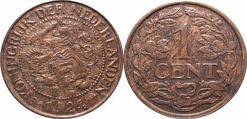 Netherlands 1 Cent 1924 *rare* key date        0229
