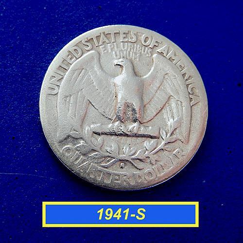 "1941-S  WASHINGTON QUATER ☆ ""Circulated"" ☆  (#2175)a"