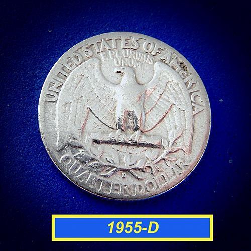 """1955-D  WASHINGTON QUATER ☆ """"Circulated"""" ☆  (#2174)a"""