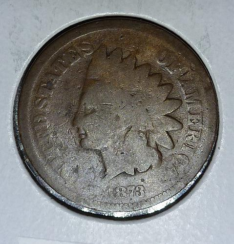 1873 Open 3 Indian Cent Good (#8051)