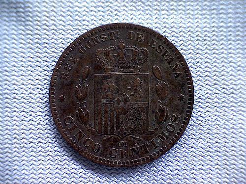 1878 OM  SPAIN  FIVE CENTIMOS