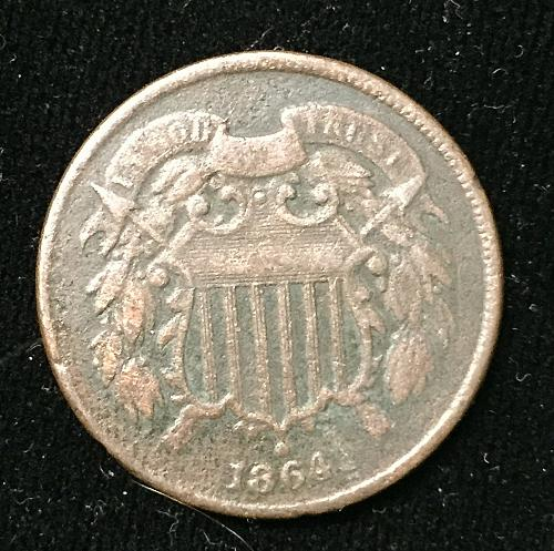 1864 2 Cent 180d Rotated Die