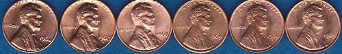 Lincoln Cents 1968P, 1968D, 1968S, 1969P, 1969D, 1969S