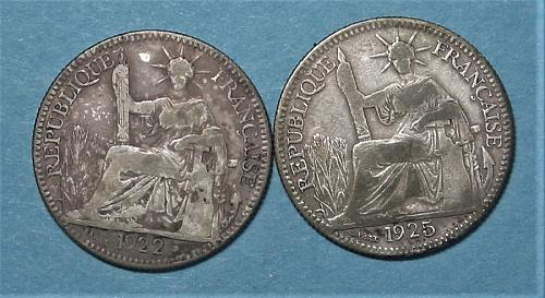 1925 & 1922 French Silver 10 Centimes