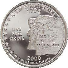 2000 S  SILVER PROOF  NEW HAMPSHIRE STATE QUARTER