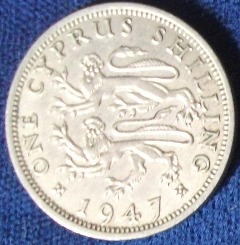 1947 Cyprus Shilling XF Details