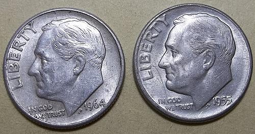 1964 P and D Roosevelt Dimes  Lot JRsKz