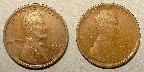 1918 and 1919s Lincoln Wheat Pennies Lot PWHWX