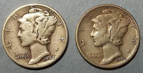 1942 P and D Mercury Dimes Lot McD8f