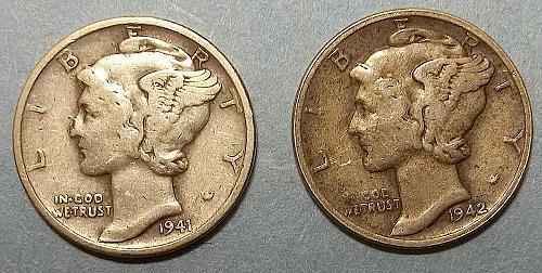 2 Mercury Dimes Lot McD84
