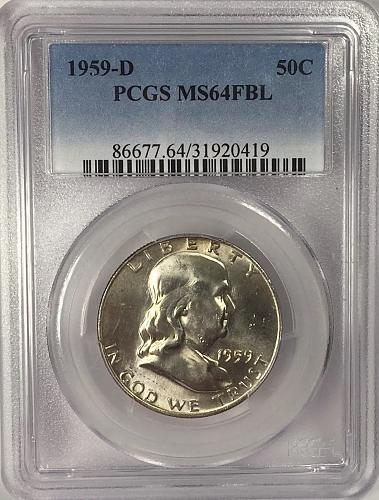 1959-D  PCGS MS 64 FBL Franklin Half-Dollar