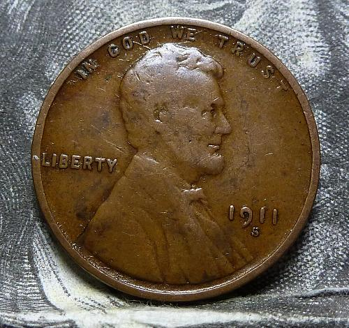 Here is a 1911 S Fine Lincoln Wheat Cent  Grade Fine ( 4007 )